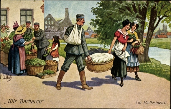 Künstler Ak Thiele, Arthur, Wir Barbaren, Ein Liebesdienst, Verletzter Soldat trägt Wäschekorb