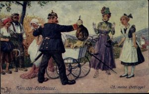 Künstler Ak Thiele, Arthur, Hamster Erlebnisse, Oh, meine Lieblinge,Polizist,Schinken im Kinderwagen