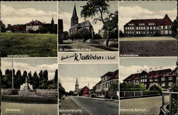 Ak Westkirchen Ennigerloh Nordrhein Westfalen, Schloss, Ehrenmal, Kirche, Industrie Anlage, Schule