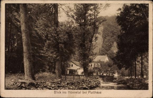 Ak Balve im Sauerland, Blick ins Hönnetal bei Platthaus, Waldpartie, Gasthof Reckenhöhle