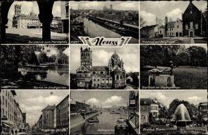 Ak Neuss in Nordrhein Westfalen, Marktplatz, Freithof mit Zeughaus, Stadtgraben, Münster, Eierdieb