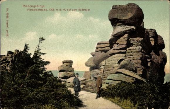 Ak Riesengebirge Schlesien, Pferdekopfsteine auf dem Reifträger