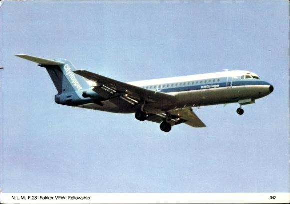 Ak Verkehrsflugzeug F28 Fokker VFW Fellowship NLM City Hopper, Nederlandse Luchtvaart Maatschappij
