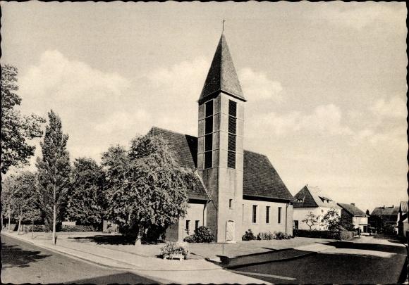 Ak Borghorst Steinfurt in Nordrhein Westfalen, Blick auf die evangelische Kirche