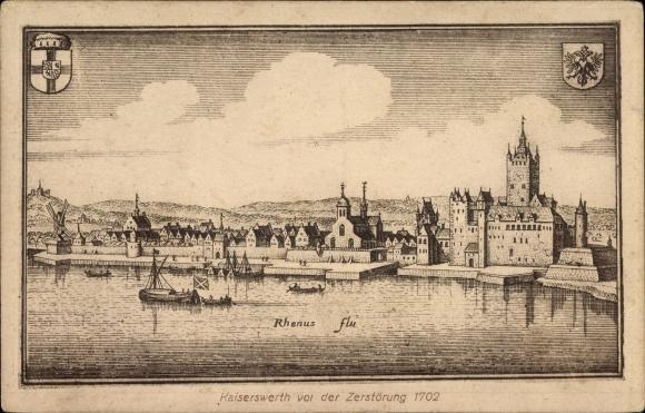 Künstler Ak Düsseldorf am Rhein, Blick auf Kaiserwerth vor der Zerstörung 1702