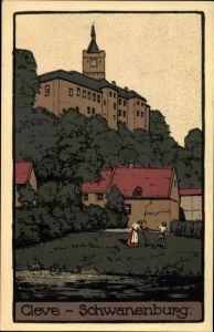 Steindruck Ak Kleve am Niederrhein, Blick zur Schwanenburg