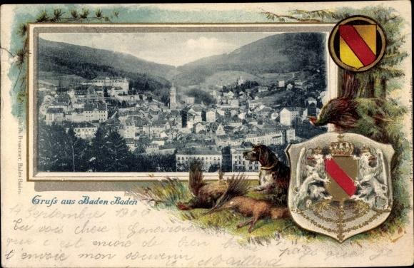 Präge Wappen Passepartout Ak Baden Baden im Stadtkreis Baden Württemberg, Stadtpanorama
