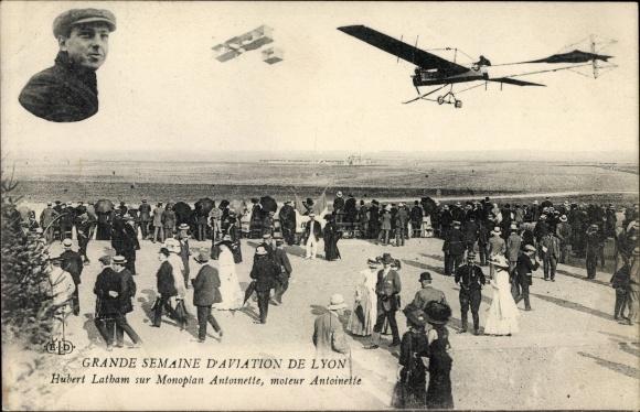 Ak Grande Semaine d'Aviation de Lyon, Hubert Latham, Monoplan Antoinette