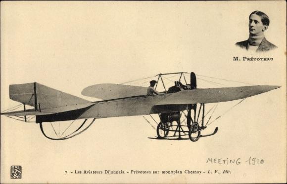 Ak Les Aviateurs Dijonnais, Prévoteau sur monoplan Chesnay