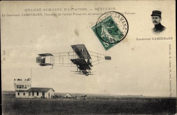 Ak Grande Semaine d'Aviation, Lieutenant Camermann, Biplan Farman