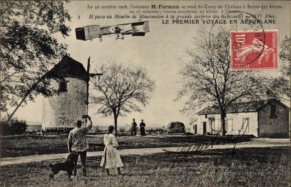 Ak Le premier voyage en aéroplane, Farman, 30. Octobre 1908, Camp de Châlons à Reims