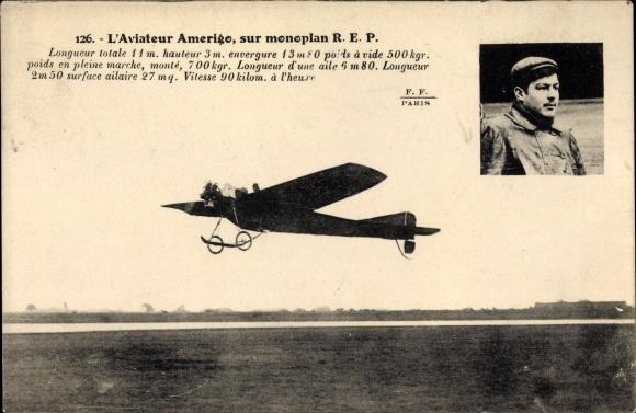 Ak L'Aviateur Amerigo, sur Monoplan REP, Flugpionier
