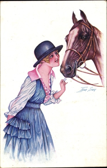Künstler Ak Sager, Xavier, Junge Frau mit einem Pferd, Blauer Melonenhut