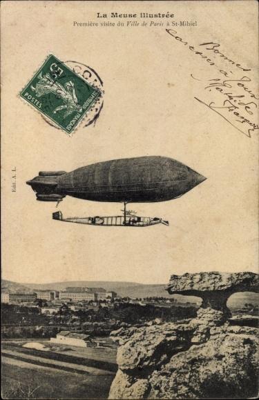 Ak La Meuse illustrée, Première visite du Ville de Paris à St. Mihiel, Dirigéable
