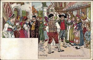 Künstler Ak Kauffmann, Usages et Costumes d'Alsace, Elsäßer Bräuche und Trachten, D'r Lehndah