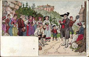 Künstler Ak Kauffmann, Usages et Costumes d'Alsace, Elsäßer Bräuche und Trachten,Odiliebärnwallfahrt