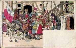 Künstler Ak Kauffmann, Usages et Costumes d'Alsace, Elsäßer Bräuche und Trachten, Ostereiersammle