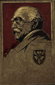 Künstler Litho Schellenberger, Otto von Bismarck, Herzog zu Lauenburg, Bundeskanzler, Wappen