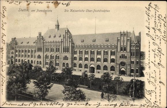 Ak Szczecin Stettin Pommern, Kaiserliche Oberpostdirektion am Paradeplatz