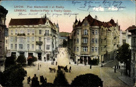 Ak Lwów Lemberg Ukraine, Plac akademicki i ulica Fredry, Akademieplatz und Fredry Gasse
