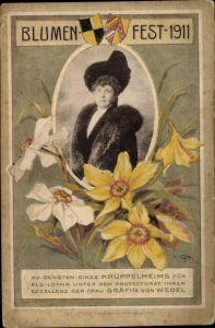 Passepartout Ak Blumenfest 1911 zu Gunsten eines Krüppelheims für Els. Lothr, Gräfin von Wedel