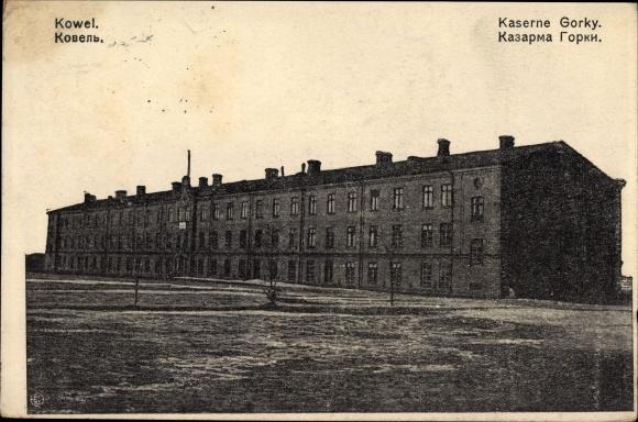Ak Kowel Ukraine, Kaserne Gorky, Totalansicht von der Kaserne