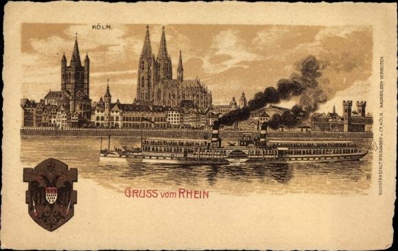 Wappen Litho Köln am Rhein, Dom, Groß St. Martin, Dampfer Kaiserin Auguste Viktoria