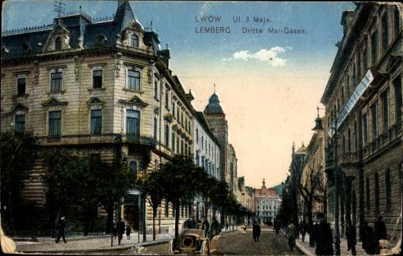 Ak Lwów Lemberg Ukraine, Blick in die Dritte Mai Gasse