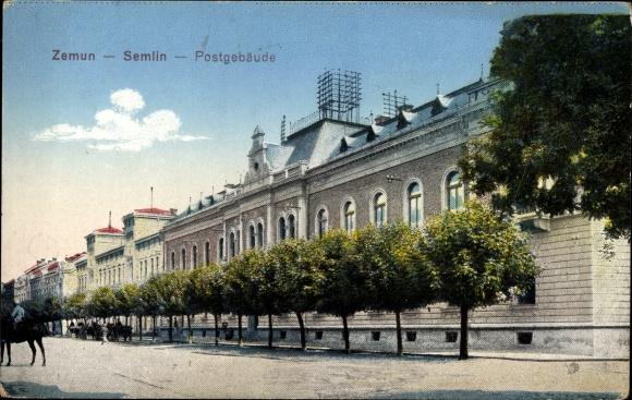 Ak Zemum Belgrad in Serbien, Partie am Postgebäude