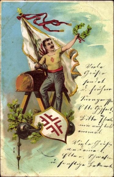 Litho Turner mit Siegeskranz neben einem Pferd, Hantel, Wappen, Fahne