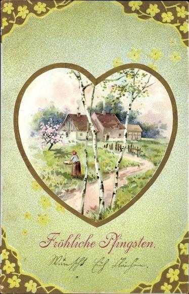 Passepartout Präge Litho Glückwunsch Pfingsten, Landschaftsansicht mit Bauernhaus