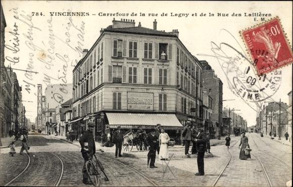 Ak Vincennes Val de Marne, Carrefour de la Rue de Lagny et de la Rue des Laitieres