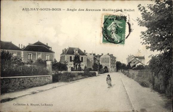 Ak Aulnay sous Bois Seine Saint Denis, Angle des Avenues Maillard et Hallet, Wohnhäuser