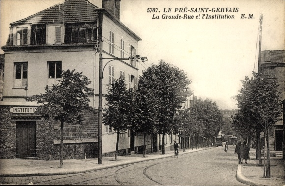 Ak Le Pre Saint Gervais Seine Saint Denis, La Grande Rue et l'Institution