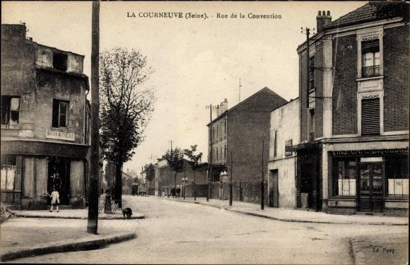 Ak La Courneuve Seine Saint Denis, Rue de la Convention, Barbin Auto Ecole