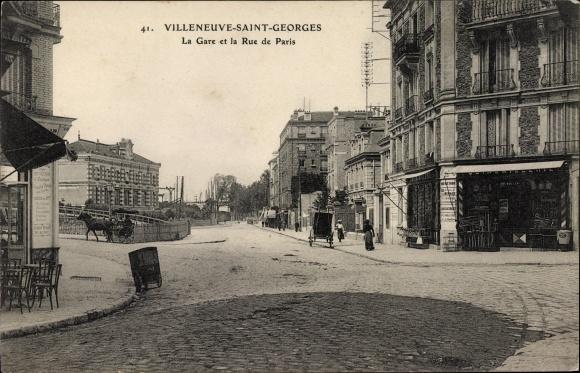 Ak Villeneuve Saint Georges Val de Marne, La Gare et la Rue de Paris