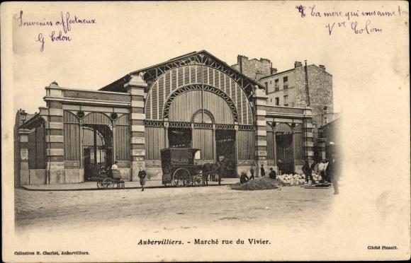 Ak Aubervilliers Seine Saint Denis, Marché rue du Vivier, Markthalle