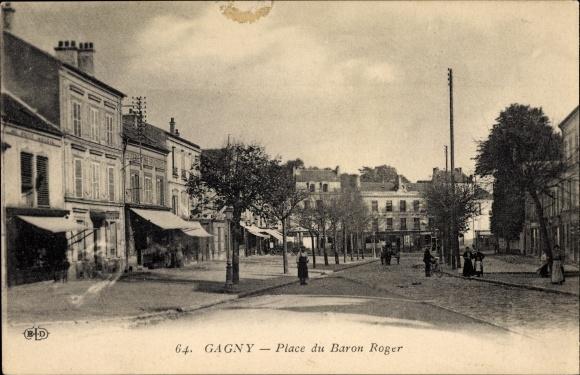 Ak Gagny Seine Saint Denis, Place du Baron Roger, Geschäfte, Passanten