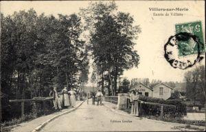 Ak Villiers sur Morin Seine et Marne, Entrée de Villiers, Straßenpartie