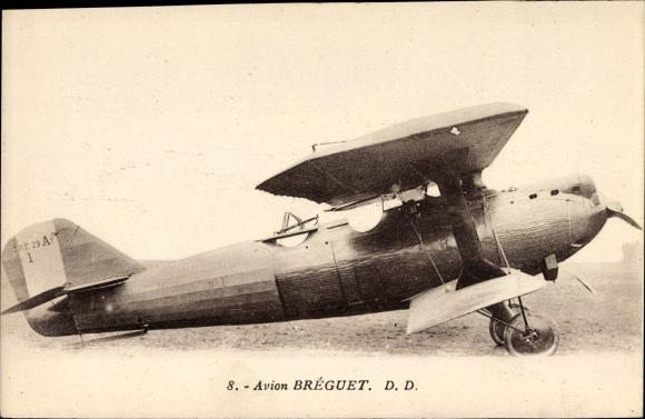 Ak Avion Breguet, Biplan, Flugzeug auf dem Rollfeld