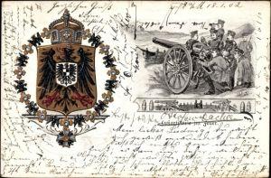 Wappen Künstler Ak Fußartillerie im Feuer, Deutsche Soldaten am Geschütz