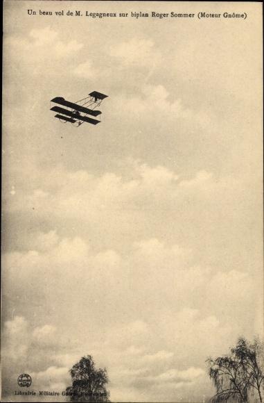 Ak Biplan Roger Sommer, Moteur Gnome, M. Legagneux, Flugzeug
