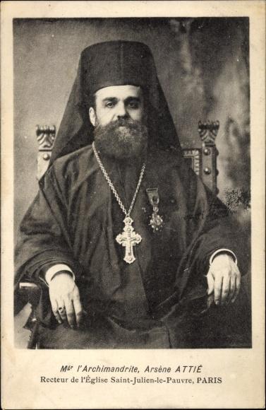 Ak Paris, Mgr l'Archimandrite Arsène Attié, Recteur de l'église Saint Julien le Pauvre