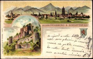 Künstler Litho Greiner, Sélestat Schlettstadt Elsass Bas Rhin, Totalansicht vom Ort, Burg