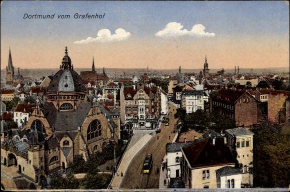 Ak Dortmund im Ruhrgebiet, Blick vom Grafenhof, Kirche, Straßenbahn, Synagoge