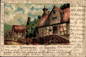 Künstler Litho Hinterweidenthal in Rheinland Pfalz, Rappenfels, Stadtansicht, Straßenpartie