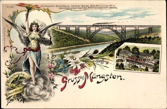 Litho Müngsten Solingen in Nordrhein Westfalen, Ansichten der Riesenbrücke, Viadukt
