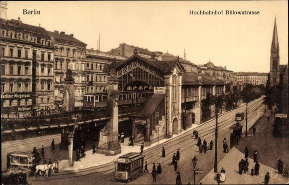Ak Berlin ak berlin schöneberg partie am hochbahnhof bülowstraße straßenbahn