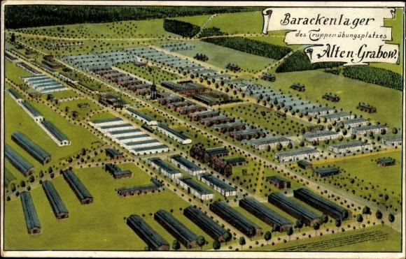 Künstler Ak Altengrabow Möckern in Sachsen Anhalt, Ansicht vom Barackenlager im Truppenübungsplatz