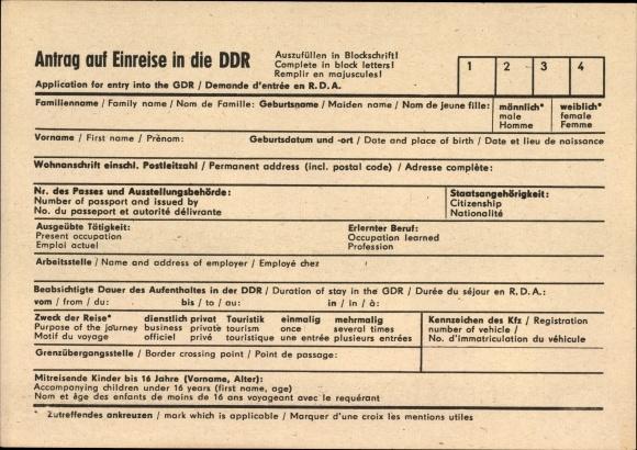 Ak Antrag auf Einreise in die DDR, Application for entry into the GDR